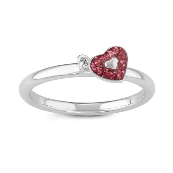 Journee Collection Sterling Silver Heart Charm Dangle Ring