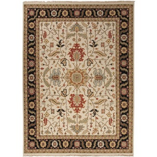 Hand-Knotted Oriental Pattern Ivory/Black (2x3) - JM23 Area Rug
