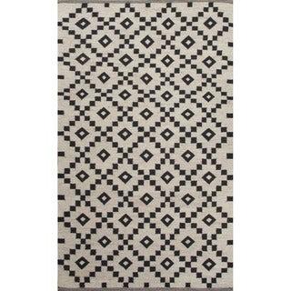 Folke Handmade Geometric Black/ White Area Rug (8' X 10')