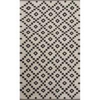 Folke Handmade Geometric Black/ White Area Rug (8' X 10') - 8' x 10'