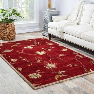 Hand-tufted Floral Pattern Red/ Ivory Area Rug (3'6 x 5'6)
