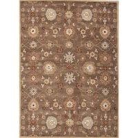 Savani Handmade Floral Brown/ Multicolor Area Rug (9' X 12')