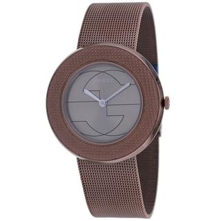Gucci Women's YA129445 U-play Round Brown Bracelet Watch