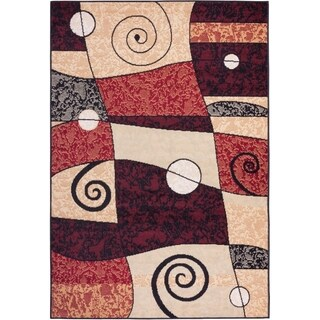 Well-woven Malibu Geometric Abstract Multi/ Red Polypropylene Rug (3'3 x 5'3)