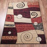 Well Woven Malibu Abstract Multi Red Area Rug - 5' x 7'
