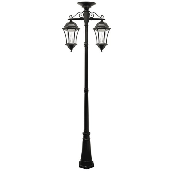 Victorian solar two lamp outdoor lamp post free shipping today overstock 16957107 for Solar exterior post lantern light