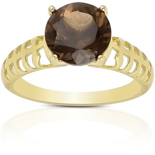 Dolce Giavonna Sterling Silver Smokey Quartz Solitaire Ring