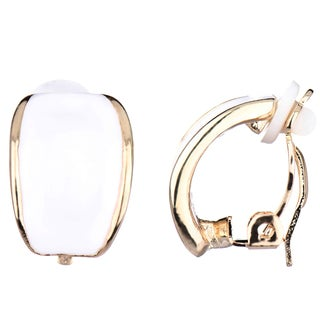 Goldtone and White Enamel Clip-on Hoop Earrings