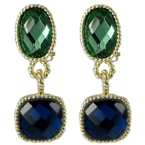Luxiro Goldtone Faceted Glass Oval and Square Dangle Earrings