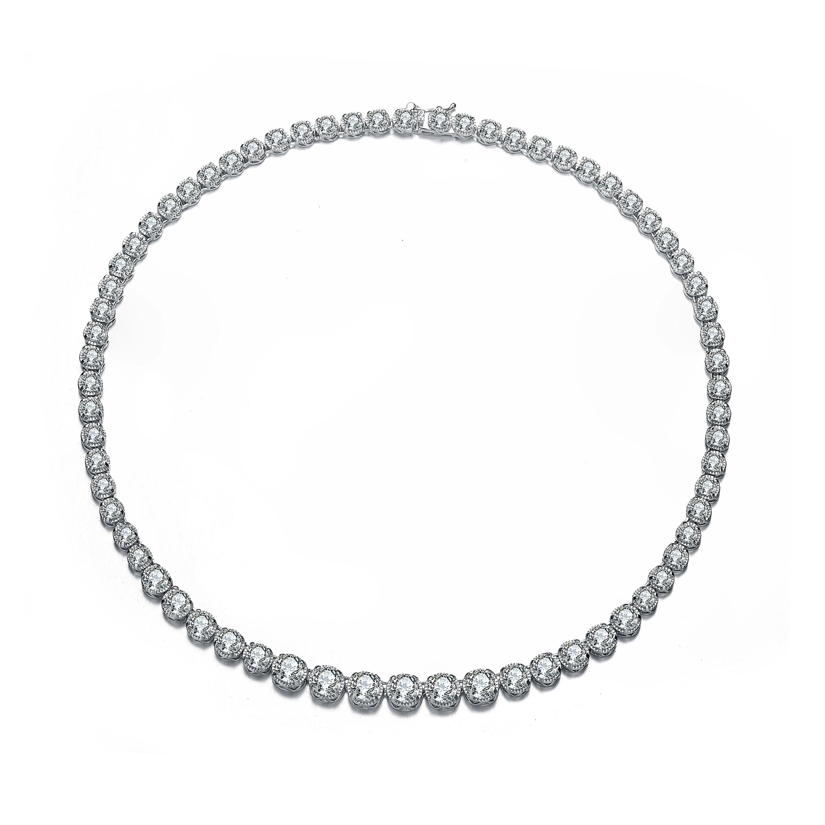 Rhodium Finished Stunning CZ Tennis Bracelet or Necklace Choose Length