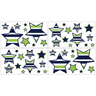 Sweet Jojo Designs Navy Blue/ Lime Green/ White Stars Wall Decal Stickers