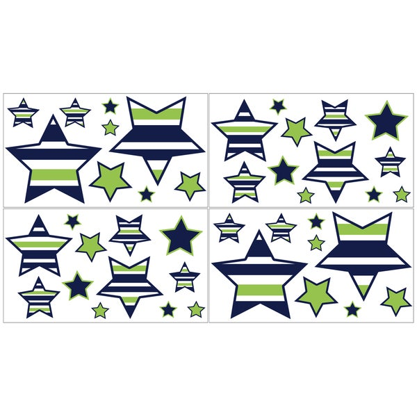 Sweet Jojo Designs Navy Blue, Lime Green and White Stars Peel and Stick Wall Decal Stickers Art Nursery Decor (Set of 4)