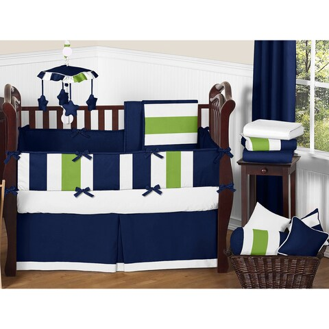 Sweet Jojo Designs Navy Blue/ Lime Green/ White Stripe 9-piece Crib Bedding Set