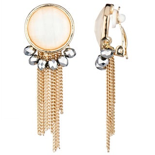 Goldtone Fringe Dangle Clip-on Earrings