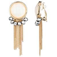 Goldtone Fringe Dangle Clip-on Earrings