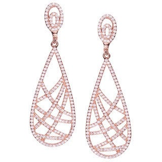 Collette Z Rose-plated Sterling Silver CZ Pear Drop Earrings