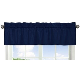Sweet Jojo Designs Navy Blue 54-inch x 15-inch Window Treatment Valance for Navy and Lime Stripe Collection