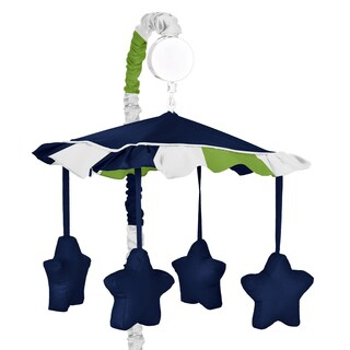 Sweet Jojo Designs Navy Blue/ Lime Green Stripe Musical Crib Mobile