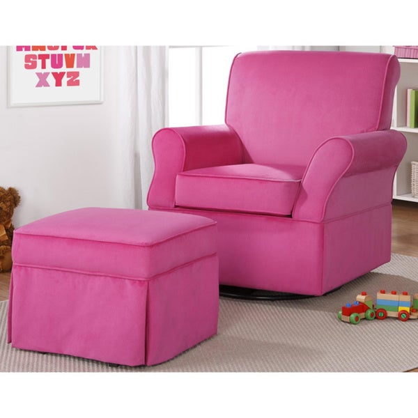 Dorel Living Kelcie Pink Swivel Glider Ottoman