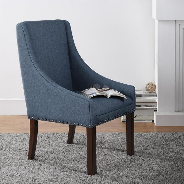 dorel living maddison blue accent chair with nailheads