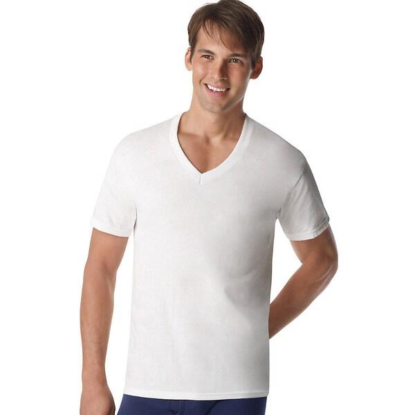 Hanes Classics Slim Fit White V Neck T Shirt Pack Of 3