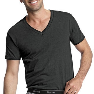 Hanes Classics Men's Traditional Fit ComfortSoft TAGLESS Dyed Black V-neck Undershirt 3-Pack