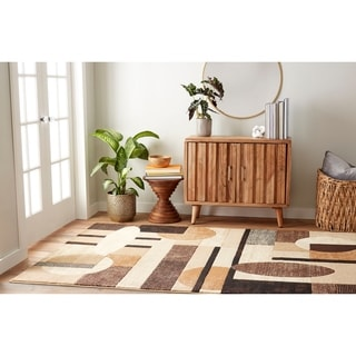 Home Dynamix Tribeca Collection Contemporary Brown Area Rug (7'10 X 10'6)