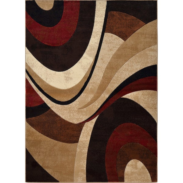 Home Dynamix Tribeca Collection Contemporary Brown Red Area Rug 7 X27 10