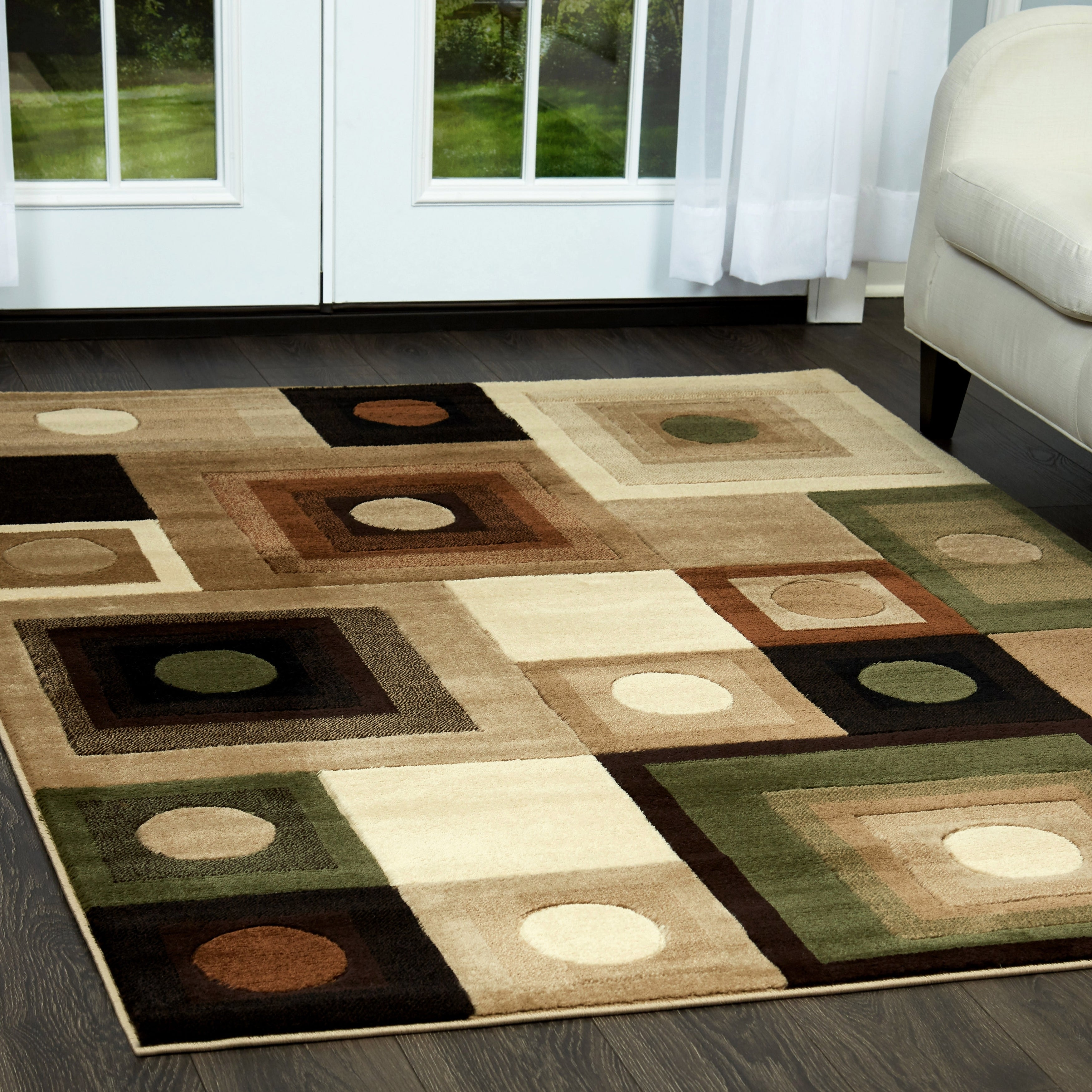 Home Dynamix Tribeca Collection Contemporary Brown Green Area Rug 5 2 X 7
