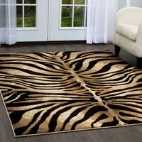"Home Dynamix Tribeca Collection Contemporary Black-Ivory Area Rug (5'2"" x 7'2"") - 5'2 x 7'2"