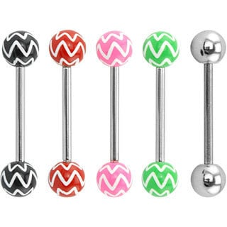 Supreme Jewelry Chevron Tongue Rings Value Pack (Set of 5)