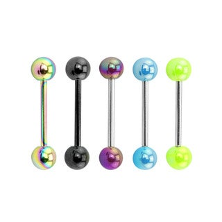 Supreme Jewelry Neon Tongue Rings Value Pack (Set of 5)