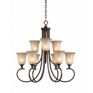 Athens Collection Lumenno International Transitional 9-light Bronze 2-tier Chandelier