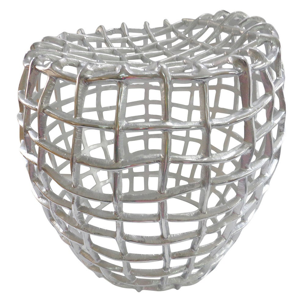 Aurelle Home Textured Silver Metal Accent Stool Overstock 9791868