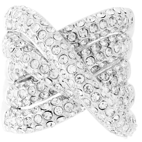 Pave Crystal Overlapping Cocktail Ring