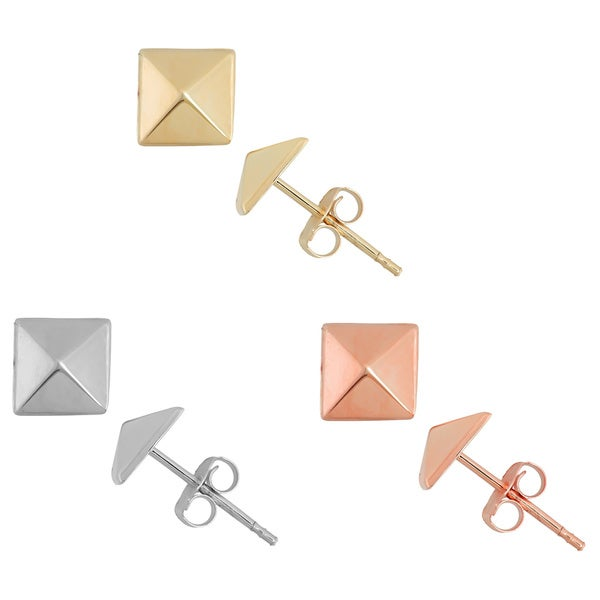 Gioelli 14k Gold 6mm High Polish Pyramid Stud Earrings