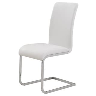 Maxim Chrome/ Faux Leather Dining chair (Set of 2)