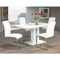 Porch & Den University Maxim Chrome/ Faux Leather Dining chair (Set of 2)