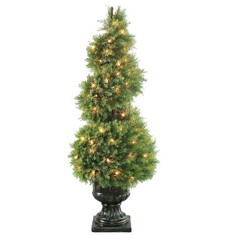 48-inch Upright Juniper Spiral Tree in Decorative Urn with 100 Clear Lights