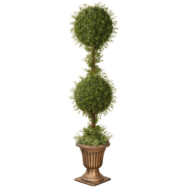 60-inch Mini Tea Leaf 2-ball Topiary with Black and Gold Urn