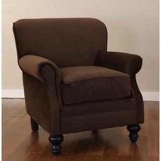Somette Finn Brown Rolled Arm Club Chair