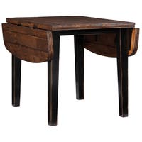 Winchester Black/ Honey Nut Solid Knotty Rubberwood Drop Leaf Table - Black