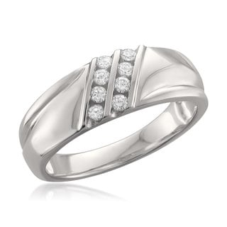 Brides Across America by Montebello 14k White Gold Men's 1/4ct TDW Round-cut Diamond Wedding Band (F-G, VS2-SI1))