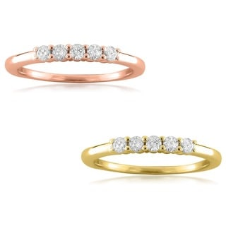 Montebello 14k Gold 1/4ct TDW Round-cut Diamond 5-stone Wedding Band (F-G, VS1-VS2)