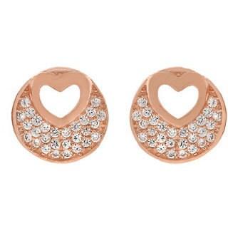 Sterling Silver Cubic Zirconia Micro Pave Open Heart Stud Earrings