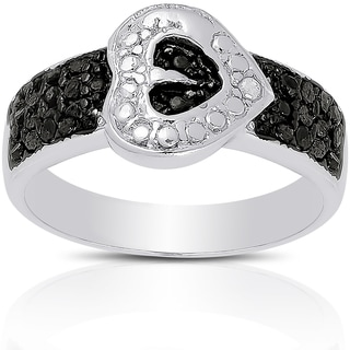 Finesque Sterling Silver Black and White 1/4ct TDW Diamond Sideways Heart Ring (I-J, I2-I3)