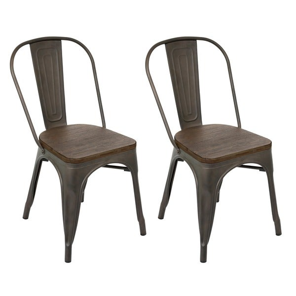 Industrial Oregon Antiqued Dining Chair Set Of 2 Free