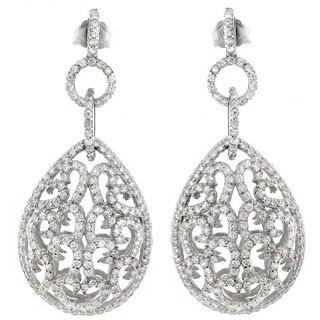 Sterling Silver Cubic Zirconia Dangling Filigree Teardrop Earrings