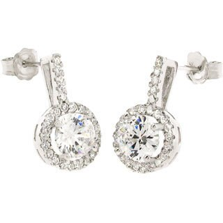 Sterling Silver Cubic Zirconia Solitaire Cubic Zirconia Stud Earrings