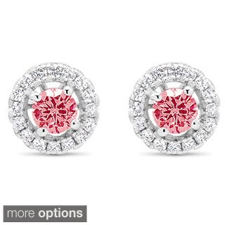 Sterling Silver Cubic Zirconia Halo Round Garnet January Cubic Zirconia Stud Earrings